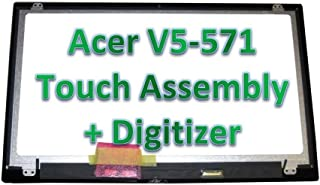 YCLM Replacement Screen B156XTN03.1 HD 15.6'' Inch LED LCD Display Touch Screen Digitizer Assembly for Acer Aspire V5-571 V5-571P V5-571PG V5-531P MS2361 (Silver) with Bezel