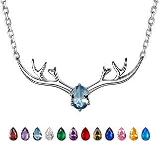 Antler Necklace 925 Sterling Silver Reindeer Animal Horn Jewelry Minimalist Style Clavicle Chain with Personalized Birthstone Charm Deer Antler Charm Necklaces