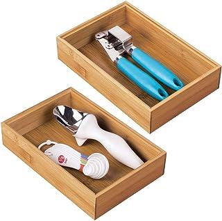 mDesign rangement à tiroir en bambou pour la cuisine (lot de 2) – séparateur de couverts modulable pour l'argenterie, la v...