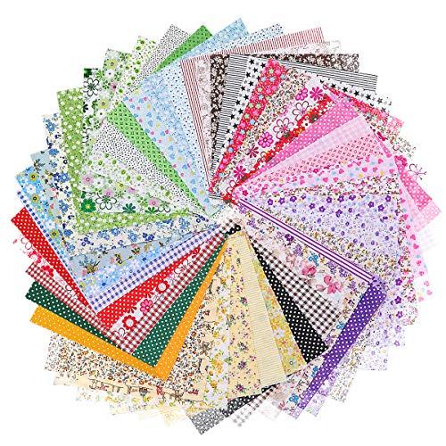 Jeteven 50Pcs Baumwollstoff, Patchworkstoffe DIY Baumwolltuch kleines Blumentuch bedrucktes glattes Tuch, zum Nähen mit gemischten Farben verschiedene Muster 20x20cm