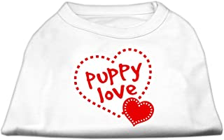 Mirage Pet Products 8-Inch Puppy Love Screen Print Shirt for Pets, X-Small, White