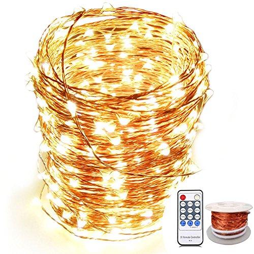 Aktualisierung LED Lichterkette Kupfer, (24M, 240 LEDs, warmweiß, CE-Zertifizierung), OrgMemory Lichterkette Draht Wassedicht Innen und Außen mit Fernbedienung für Weihnachten, Hochzeit, Haus, Bäume