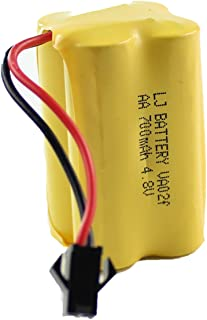 fisca 4.8V 700mAh Spare Rechargeable Battery Ni-Cd AA High-Capacity Battery Pack,SM 2P Connector for RC Bus RC School Bus RC Boat
