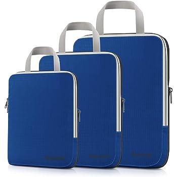 Gonex Compression Packing Cubes,3pcs L+M+S Expandable StorageTravel Bags Luggage Organizers(Deep Blue)