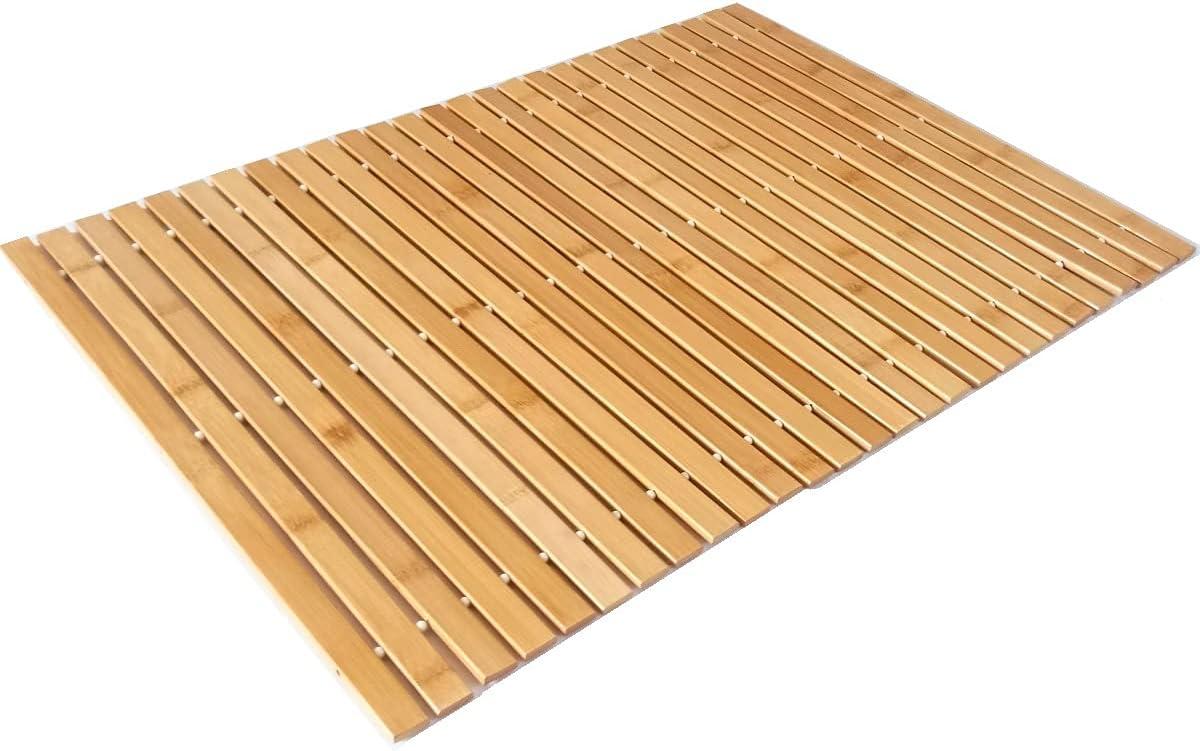 KYMY Bamboo Wood Bath Mat for Shower Kansas City Mall Ma Roll-Up Max 85% OFF