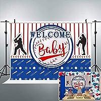 男の子の誕生日パーティーバナーのHD野球ベビーシャワーの背景ようこそベビーストライプ写真の背景7x5フィートの写真ブーススタジオ小道具LHAY1118