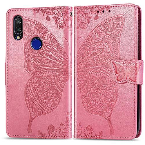 Hülle für Xiaomi Redmi 7 Handyhülle Schutzhülle Leder PU Wallet Bumper Lederhülle Ledertasche Klapphülle Klappbar Magnetisch für Xiaomi Redmi 7 - ZISD021416 Rosa