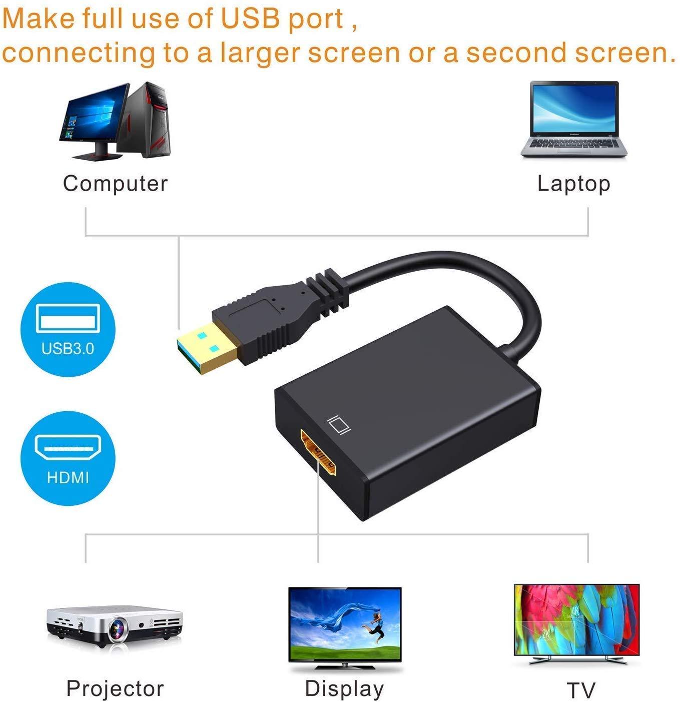 Bukeer - Adaptador USB a HDMI, USB 3.0/2.0 a HDMI 1080P Video Graphics Cable Convertidor con Audio para PC Laptop Proyector HDTV Compatible con Windows XP 7/8/8.1/10: Amazon.es: Electrónica