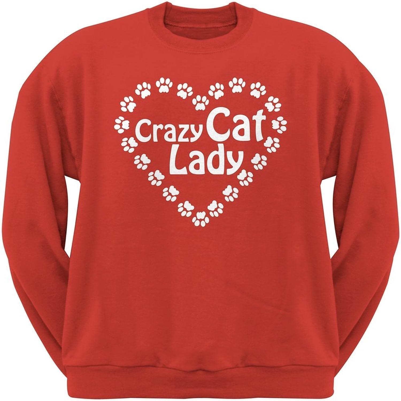 Crazy Cat Lady Paw Heart Red Crew Neck Sweatshirt