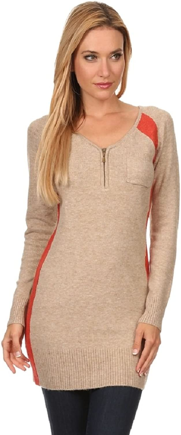High Secret Jessica Moretti Women's Knit color Block Fitted Tunic Sweater