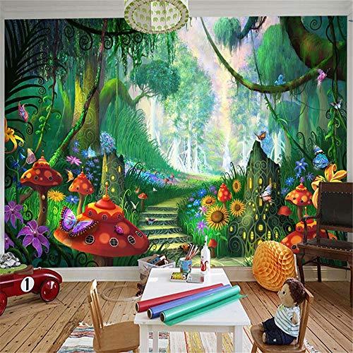 Wandbild, 3D, Kinder Cartoon Märchenwald Waldpilz Straße Kinder Schlafzimmer Eco Fototapete, 300Cm (B) X 210Cm (H)