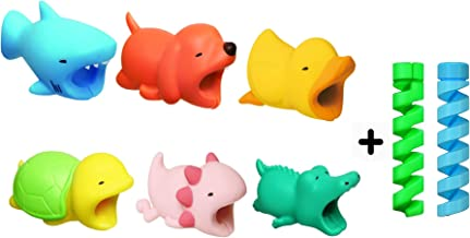 6 Packs of Cute Animals with 2 PCS Spiral Cable Protector Cable chompers Cable Biters Cable chewers Cable bite Prime (Dog+Shark+Duck+Turtle+Axolotl+Croc)