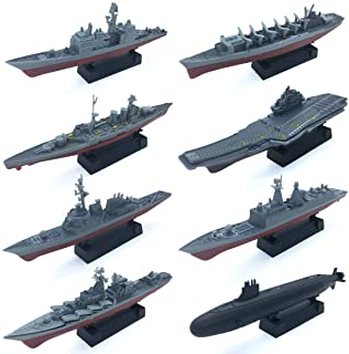 8 Sets 3D-Puzzle Model Battleship Aircraft Carrier Toy Submarine, Plastic Model Warships Ship Kits, Navy Ship Battleship M...