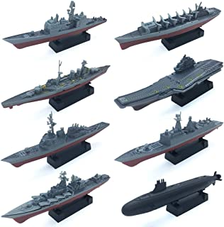 8 Sets 3D-Puzzle Model Battleship Aircraft Carrier Toy Submarine, Plastic Model Warships Ship Kits, Navy Ship Battleship Models for Collection by Kvvdi