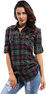 Women's Long Sleeve Button Down Plaid Flannel Shirt