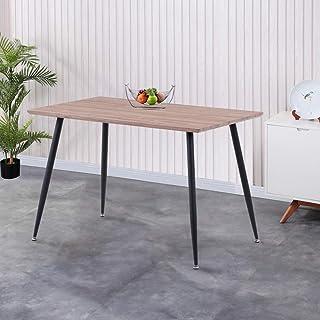GOLDFAN Table de Salle à Manger en Bois Table Design Cuisine Salon Rectangle Plateau MDF avec Pieds en Métal 113cm Marron
