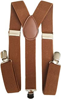 One Point Collections Men's and Women's Enamel Elastic Adjustable Braces Trouser Y-Back Clip on Suspenders (Brown, Free Size)