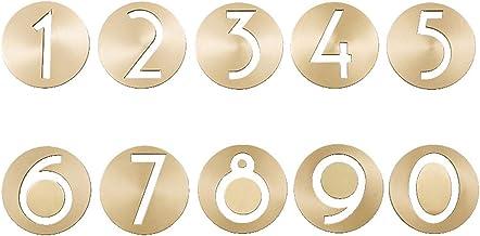 Golden Messing Numbers Retro Villa Hotel Deurplaten Ronde Hollow Figuren Digital Company Slaapzaal Home / 0-9 Digitaal Hui...