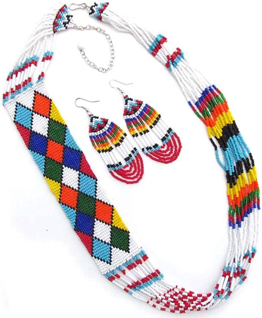 Handmade Beaded Indian Fashion Jewelry Multicolor Seed Beaded Necklace Earrings Set