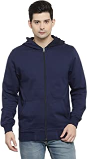 Biluniya Creations Cotton Plain Full Sleeves Zipper Sweatshirt Jacket with Hoodies for Mens with Front Pocket