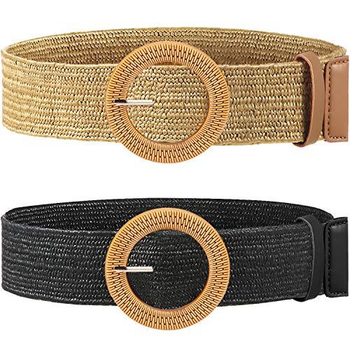Cinturón elástico de paja para mujer, 2 piezas, con hebilla de madera - Multi color - M