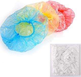 Disposable Shower Caps-Auma100 Pcs Larger and Thicker Plastic Waterproof Clear Shower Caps Bath Shower Hair Caps Women Spa...