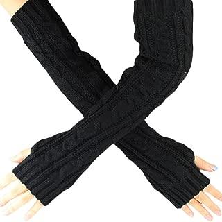 Hot Sale!!! Hennta Fashion Women Girl Winter Wrist Arm Hemp Flowers Fingerless Knitted Long Gloves Soft Warm Mitten