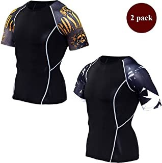 Men's 2 Packs Short Sleeve Compression Workout Tight T-Shirt Cool Dry Moisture Wicking Cycling Running Base Layer Tops,E,XXXXL
