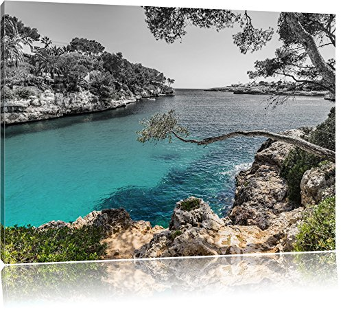 Pixxprint Mallorca Bay Cove / 100x70cm Leinwandbild bespannt auf Holzrahmen/Wandbild Kunstdruck Dekoration
