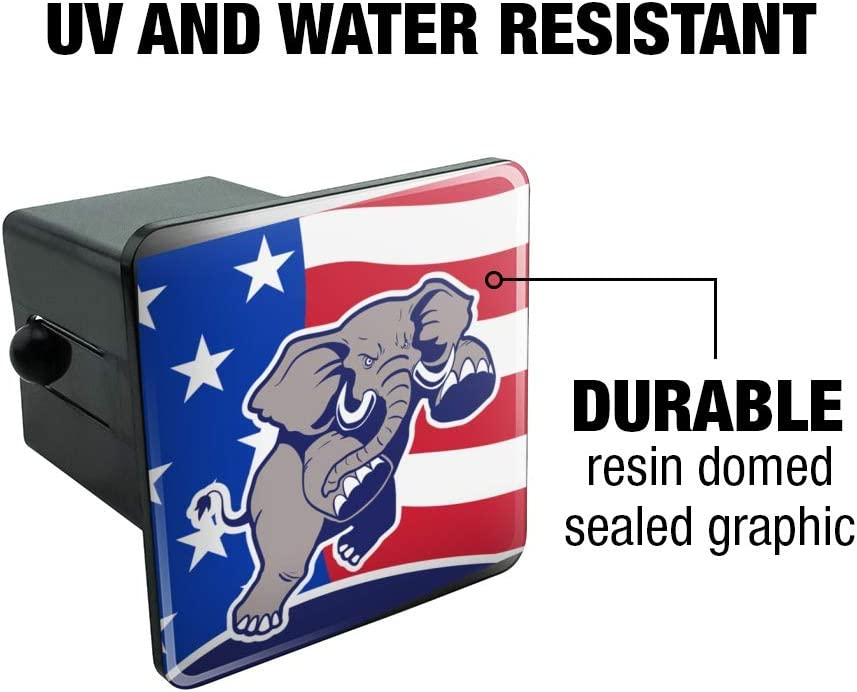 Graphics and More Personalized Custom 1 Line Republican Elephant Political Oval Tow Trailer Hitch Cover Plug Insert