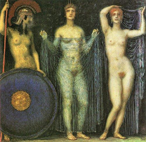 Das Museum Outlet–Die drei Göttinnen Athena, Hera und Aphrodite von Franz von Stuck–Poster Print Online kaufen (101,6x 127cm)
