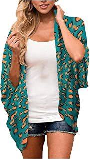 Xinantime Womens Casual Soft Leopard/Floral Chiffon Loose Open Front Cover Up Tops Cardigan