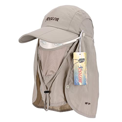 ICOLOR UPF 50+ Quick Drying Sun Hat Cap with Removable Neck Flap Cover and  Face 0898e23287d