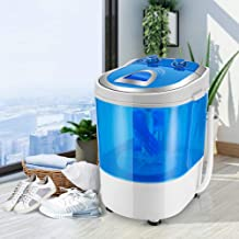 SEAAN Portable Mini Washing Machine, Automatic Shoes Washer 7lbs Smart Lazy Small for Compact Laundry, Wash&Spin Transluce...