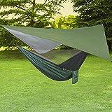 ele ELEOPTION Hamaca de Camping 3 en 1 con mosquitera y Lona de Tienda de campaña, Capacidad de Carga de 300 kg, hamacas Transpirables, mosquitera, Secado rápido, Lona para Camping, Viaje, Lona Verde