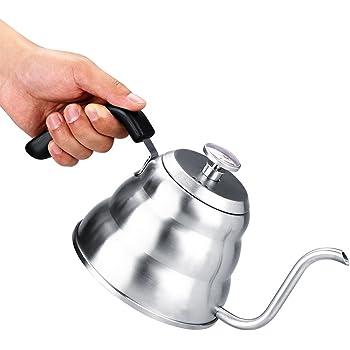 Pour Over Coffee Kettle - Hervidores de Té Con Cuello de Cisne - Con Termómetro - Acero Inoxidable 304 - Tetera Con Cuello de Cisne - Para Preparar Café En Casa, Té(1L)