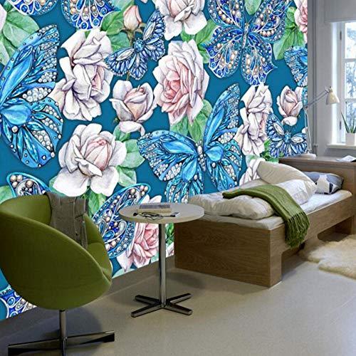 3D Vlinder muur kunst beschilderde bloem, muur Decor Woonkamer Verf Ideeën Slaapkamer Muurschilderingen, Behang voor Kinderkamer 208 cm (B) x 146 cm (H)