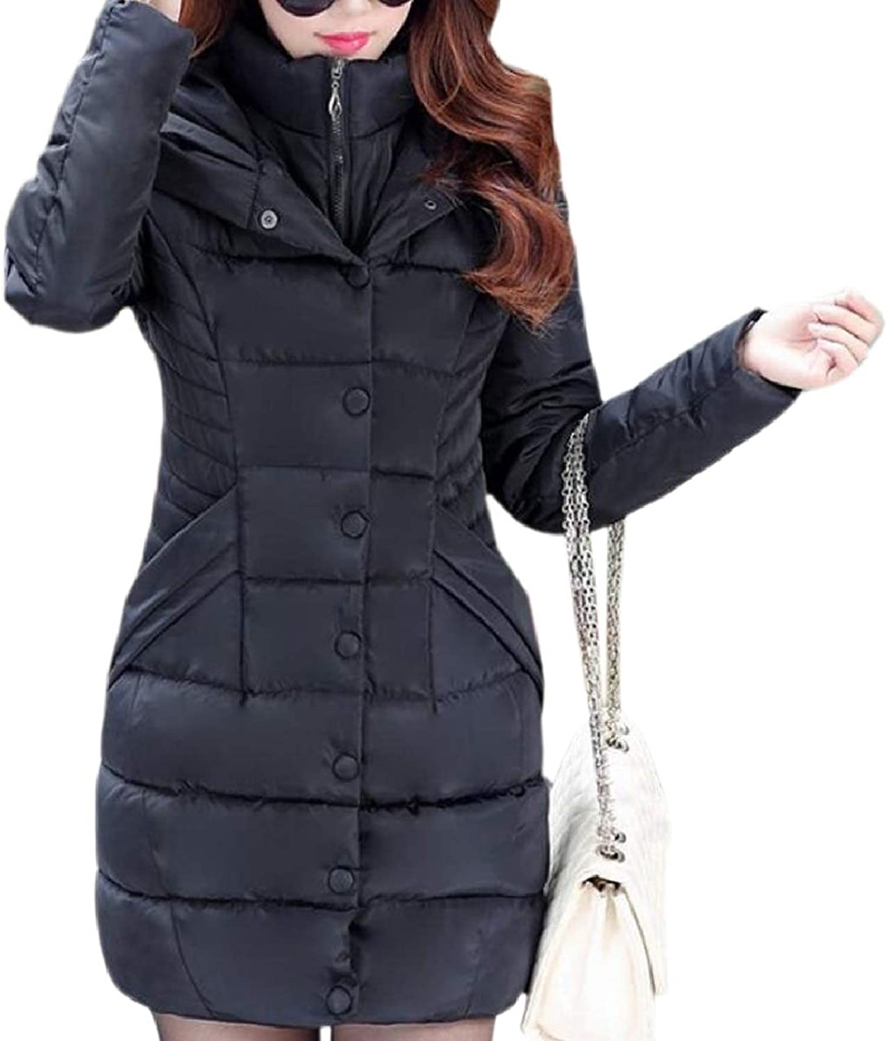 CBTLVSN Women's Quilted Peacoat Warm Fall Winter Outside Hoodies Down Jacket