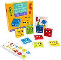 AOGER Wooden Puzzle Building Blocks,Montessori Learning Parent-Child Toys, Funny Expression Building Cubes Puzzle,...