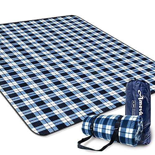 Amevkou, coperta da picnic, impermeabile, 200 x 200 cm, coperta da spiaggia extra large, impermeabile, pieghevole, XXL, lavabile, con borsa e tracolla per parco, campeggio, colore: nero/bianco
