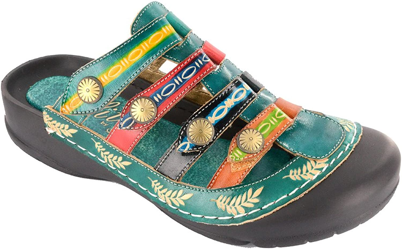 Corkys Womens Heidi Leather Closed Toe Casual Slide Sandals