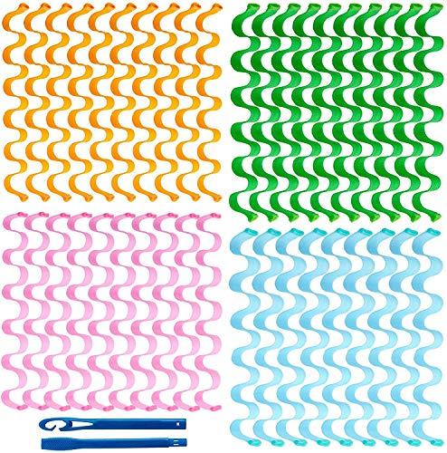 40 piezas 30 cm Kit de peinado de rodillos de pelo Sin calor Agua Frizzing Hair Roller Magic Hair Roller con 3 piezas de ganchos de peinado para mujeres Cabello largo La mayoría de los peinado