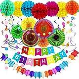 TOROTON 28 Piezas Decoración de Cumpleaños, Happy Birthday Pancartas, Abanicos Colores, Guirnaldas de Papel, Pom Poms, para Cumpleaños Boda Carnaval Bebé Ducha