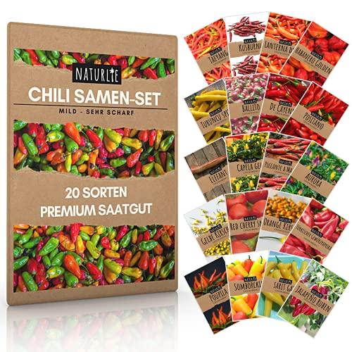 20er Chili Samen Set von Naturlie, 20 Sorten Chilisamen mild bis sehr scharf, Chili Set für Balkon, Garten, Gewächshaus, Hochbeet - Premium Chilisortiment
