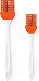 M KITCHEN WORLD Silicone Basting - BBQ, Pastry, and Oil Brush (Orange), Turkey Baster, Barbecue Utensil - use for Grilling & Marinating - Desserts Baking, Set of 2 with 2 Recipe Electronic Books