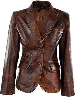 Women Tan Brown Slim Fit Real Leather Jacket