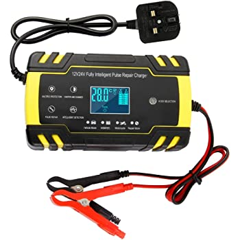 UK Plug 12V//24V 8A Intelligent Automatic Battery Charger Maintainer with LCD Screen CQWL Car Battery Charger 3-Stage Automatic Trickle Battery Charger Suitable for More Types of Batteries