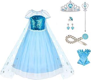 URAQT Disfraz Frozen Niña, Disfraz Elsa Frozen, Disfraz