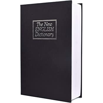 Book Safe With Key Lock-HENGSHENG Dictionary Diversion Secret Book Safe,Black Colour 9.5 x 6.1 x 2.1 inches-Black