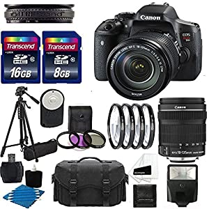 Canon EOS Rebel T6i Digital DSLR Camera Full HD Video with EF-S 18-135mm f/3.5-5.6 IS STM Lens With Auto Power Flash + Close-Up Macro Filter Set + Tripod + 24GB Complete Deluxe Accessory Bundle